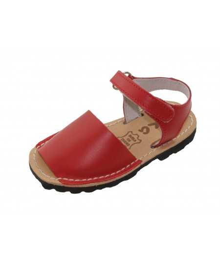 Menorcan sandal children avarca red Velcro