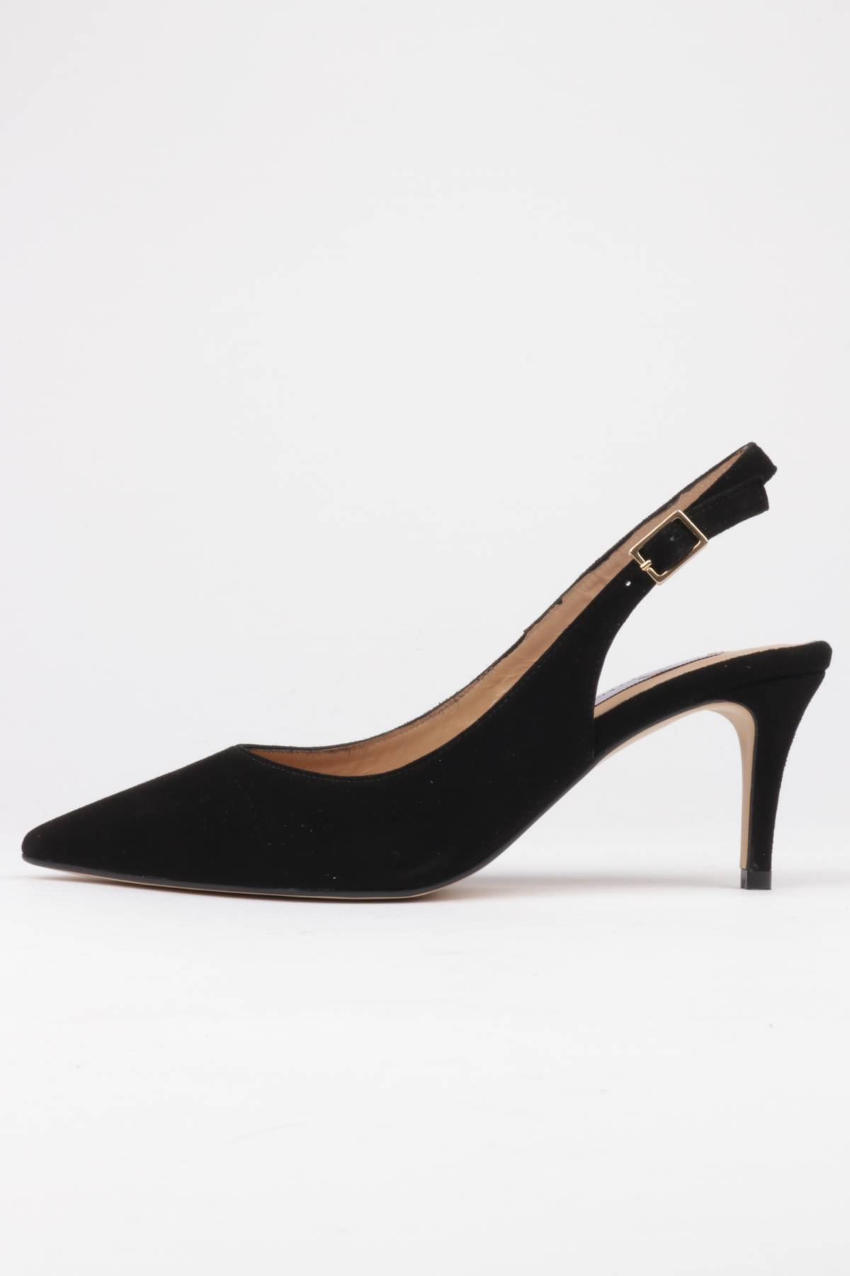 Slingback stilettos black suede mid heel