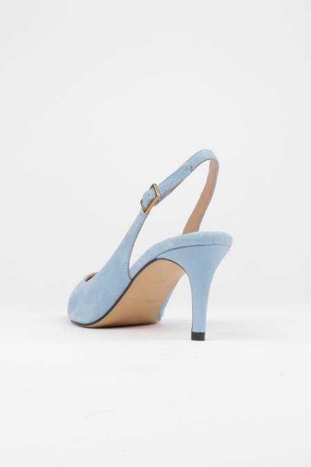 Slingback pumps light blue suede mid heel