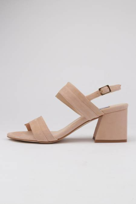 Sandals nude suede wide heel