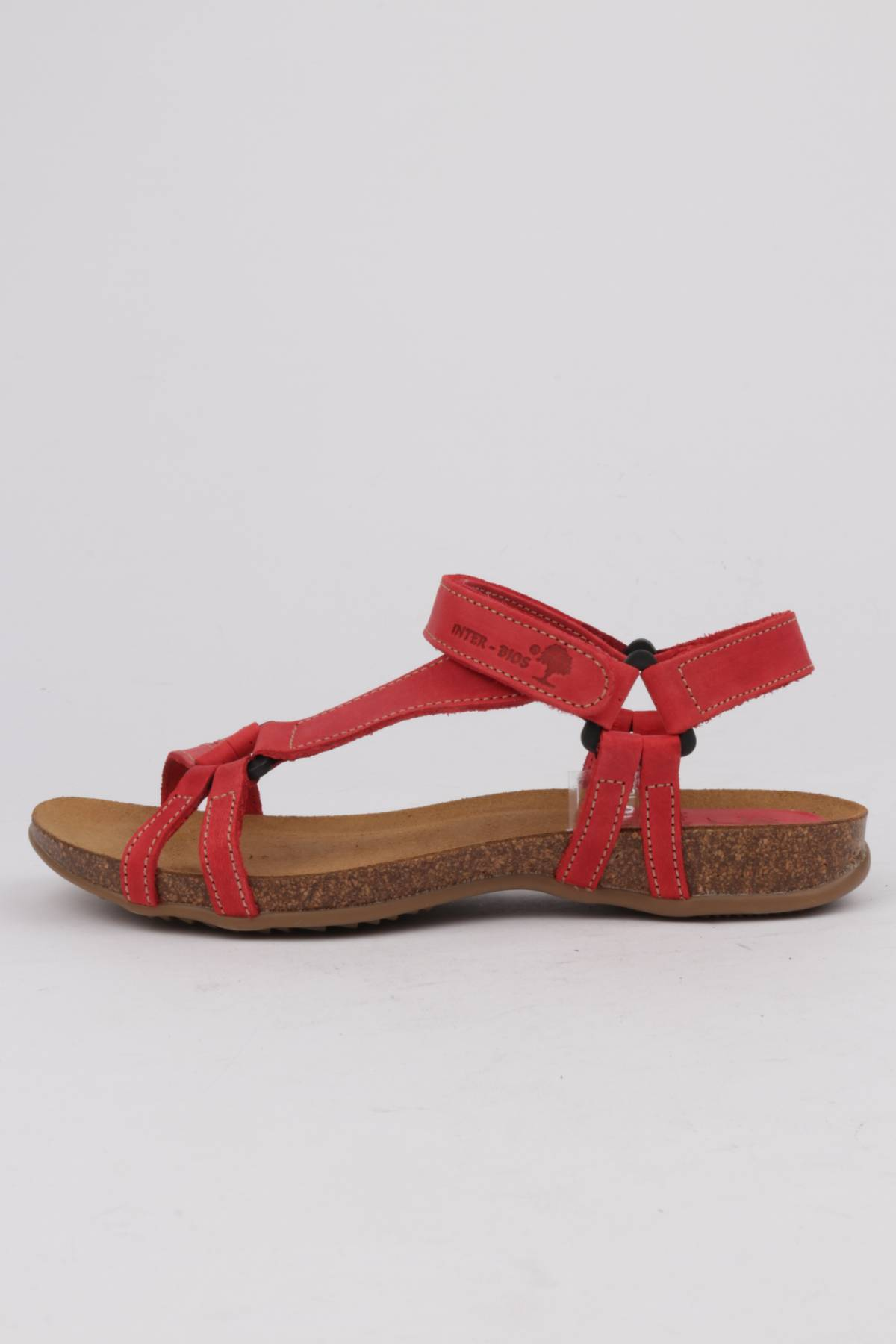 INTER BIOS flat sandals red leather