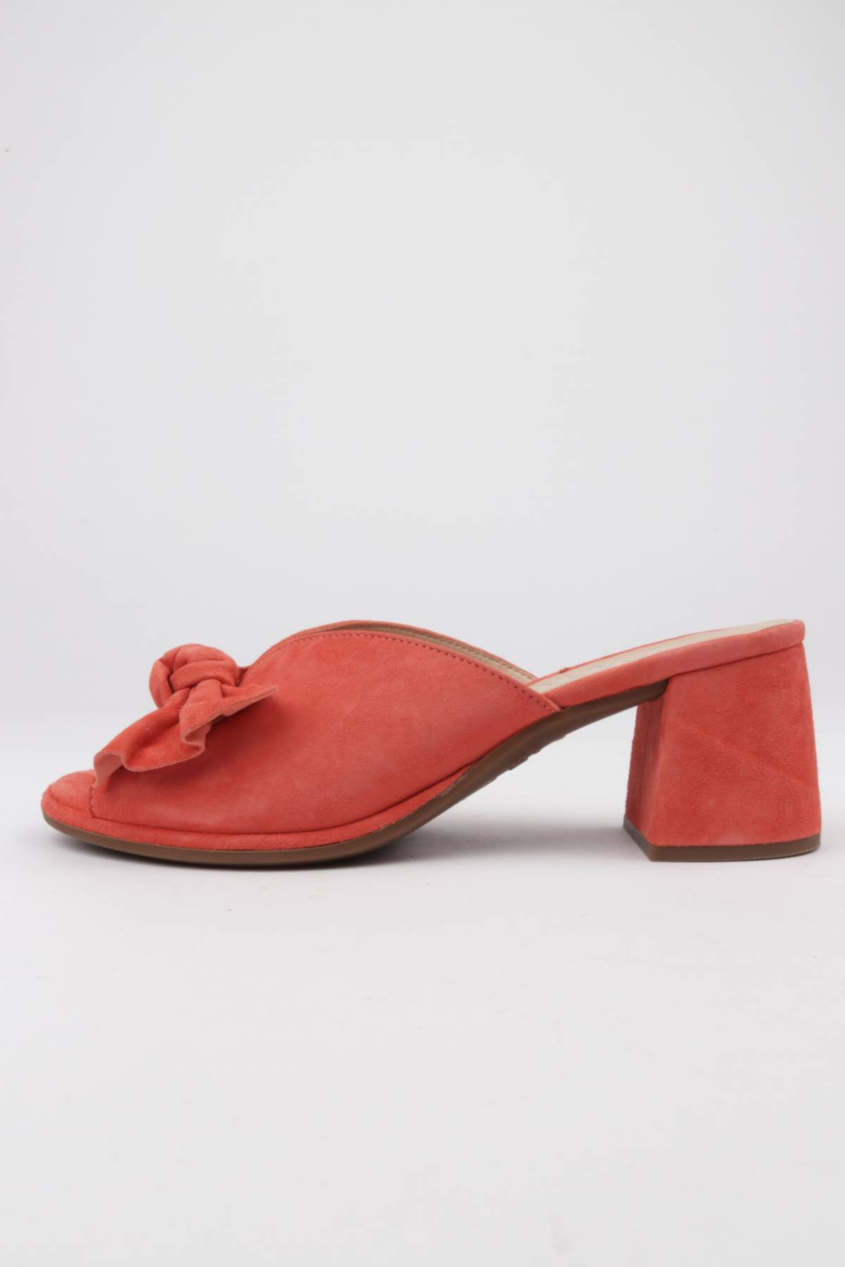 Women's sandals coral suede bow detail