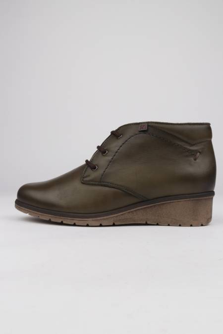 Khaki leather ankle boots...