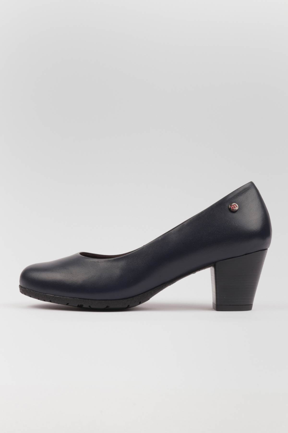 Comfortable mid heel pumps shoes navy