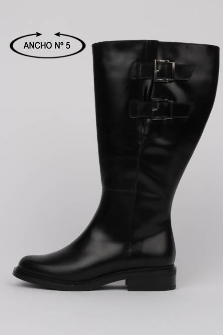 Flat black high boots woman...