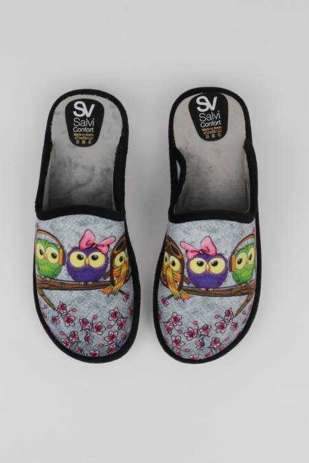 Women's gray slippers with...