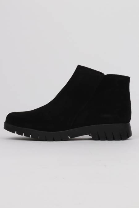 Woman black suede ankle boots