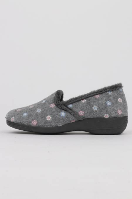 Women's gray wedge slippers...