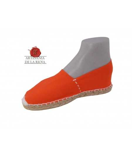 Hand-stitched orange canvas espadrille