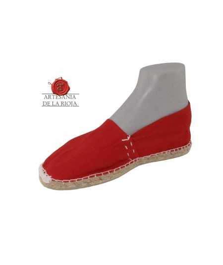 Hand-stitched red canvas espadrille