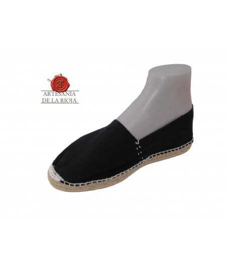 Hand-stitched black canvas espadrille
